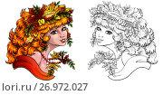 Купить «Красивая девушка с рыжими волосами и венком из осенних листьев. Раскрашенная иллюстрация и контурный рисунок на белом фоне. Раскраска», иллюстрация № 26972027 (c) Анастасия Некрасова / Фотобанк Лори