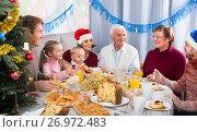 Купить «Family members are talking to each other», фото № 26972483, снято 23 января 2019 г. (c) Яков Филимонов / Фотобанк Лори