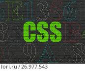 Купить «Programming concept: Css on wall background», фото № 26977543, снято 12 декабря 2016 г. (c) easy Fotostock / Фотобанк Лори