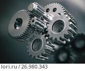 Купить «Engine gears wheels and cogwheels. Industrial background.», фото № 26980343, снято 23 мая 2018 г. (c) Maksym Yemelyanov / Фотобанк Лори