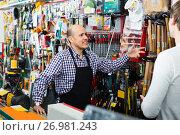 Купить «Friendly salesman showing hammer to client», фото № 26981243, снято 19 ноября 2018 г. (c) Яков Филимонов / Фотобанк Лори