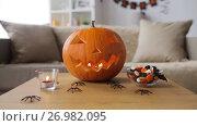 Купить «jack-o-lantern and halloween decorations at home», видеоролик № 26982095, снято 20 сентября 2017 г. (c) Syda Productions / Фотобанк Лори