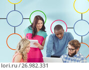 Купить «Group meeting and Colorful mind map over bright background», фото № 26982331, снято 23 июля 2019 г. (c) Wavebreak Media / Фотобанк Лори