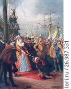 Queen Elizabeth I knighting Sir Francis Drake on board The Golden Hind at Deptford 4th April, 1581. Elizabeth I,aka The Virgin Queen, Gloriana or Good... Редакционное фото, фотограф Classic Vision / age Fotostock / Фотобанк Лори