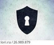 Купить «Security concept: Shield With Keyhole on Digital Data Paper background», фото № 26989879, снято 6 января 2017 г. (c) easy Fotostock / Фотобанк Лори