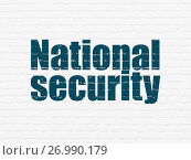 Купить «Protection concept: National Security on wall background», фото № 26990179, снято 7 января 2017 г. (c) easy Fotostock / Фотобанк Лори
