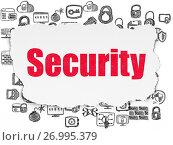 Купить «Protection concept: Security on Torn Paper background», фото № 26995379, снято 23 января 2017 г. (c) easy Fotostock / Фотобанк Лори
