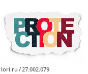 Купить «Protection concept: Protection on Torn Paper background», фото № 27002079, снято 8 февраля 2017 г. (c) easy Fotostock / Фотобанк Лори