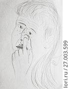 Купить «Подросток ковыряется в носу. Шарж, карикатура.», иллюстрация № 27003599 (c) Олег Хархан / Фотобанк Лори