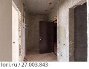 Купить «Вход в квартиру в новостройке, установленная металлическая дверь», фото № 27003843, снято 21 февраля 2019 г. (c) Иванов Алексей / Фотобанк Лори