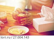 Купить «close up of ill woman drinking tea with lemon», фото № 27004143, снято 13 октября 2016 г. (c) Syda Productions / Фотобанк Лори