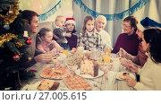 Купить «Adult family members saying toasts during dinner», фото № 27005615, снято 16 августа 2018 г. (c) Яков Филимонов / Фотобанк Лори