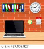 Laptop on designer desktop in modern office interior. Стоковая иллюстрация, иллюстратор Дмитрий Варава / Фотобанк Лори