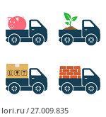 Commercial trucks icons. Delivery of various goods. Стоковая иллюстрация, иллюстратор Дмитрий Варава / Фотобанк Лори