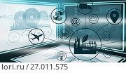Composite image of composite image of industry amidst various icons. Стоковая иллюстрация, агентство Wavebreak Media / Фотобанк Лори