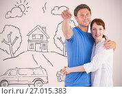 Купить «Couple Holding key with house home drawings in front of vignette», фото № 27015383, снято 23 августа 2019 г. (c) Wavebreak Media / Фотобанк Лори