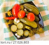 Маринованные огурцы, помидоры и кабачки на тарелке. Стоковое фото, фотограф Дудакова / Фотобанк Лори