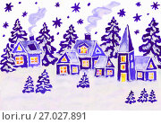Купить «Christmas picture in dark blue», иллюстрация № 27027891 (c) ИВА Афонская / Фотобанк Лори