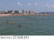 Купить «Вид с моря на пляж курортного посёлка Джемете, Анапа», фото № 27028651, снято 23 июля 2017 г. (c) Николай Мухорин / Фотобанк Лори