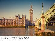 Купить «Big Ben and Houses of parliament, London», фото № 27029551, снято 5 марта 2013 г. (c) Sergey Borisov / Фотобанк Лори