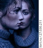 Купить «Halloween beauty portrait of two young women in gray sweaters on grey background. Beautiful girls stretching hands forward in embrace. Female friendship concept», фото № 27030211, снято 26 июля 2017 г. (c) Serg Zastavkin / Фотобанк Лори