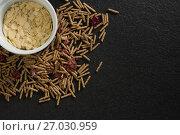 Bowl of corn bran with cereal bran stick spread. Стоковое фото, агентство Wavebreak Media / Фотобанк Лори