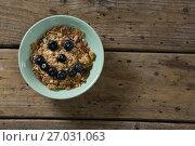 Купить «Oats with blueberries forming smiley face», фото № 27031063, снято 13 июня 2017 г. (c) Wavebreak Media / Фотобанк Лори