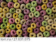 Купить «Close-up of froot loops», фото № 27031075, снято 13 июня 2017 г. (c) Wavebreak Media / Фотобанк Лори