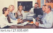 Купить «Working meeting at office», фото № 27035691, снято 24 февраля 2019 г. (c) Яков Филимонов / Фотобанк Лори