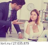 Купить «Manager scolding frustrated female», фото № 27035879, снято 1 июня 2017 г. (c) Яков Филимонов / Фотобанк Лори