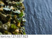 Купить «Close-up of kale on slate», фото № 27037923, снято 12 июня 2017 г. (c) Wavebreak Media / Фотобанк Лори