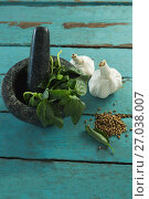 Купить «Mortar and pestle with herbs and spices on wooden table», фото № 27038007, снято 5 июня 2017 г. (c) Wavebreak Media / Фотобанк Лори