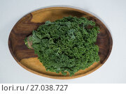 Купить «Overhead view of fresh kale in wooden plate», фото № 27038727, снято 12 июня 2017 г. (c) Wavebreak Media / Фотобанк Лори
