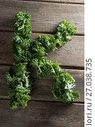 Купить «Letter K made with fresh kale leaves on wooden table», фото № 27038735, снято 12 июня 2017 г. (c) Wavebreak Media / Фотобанк Лори