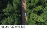 Купить «Полет над автомобилем, проезжающим по грунтовой дороге среди леса», видеоролик № 27046531, снято 3 октября 2017 г. (c) Кекяляйнен Андрей / Фотобанк Лори