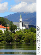 Church on Bled lake in Slovenia (2017 год). Стоковое фото, фотограф Михаил Коханчиков / Фотобанк Лори