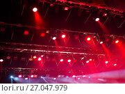 Купить «Stage lights. Soffits. Concert light», фото № 27047979, снято 29 сентября 2017 г. (c) Евгений Ткачёв / Фотобанк Лори