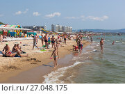 Купить «Пляж курортного посёлка Джемете, Анапа», фото № 27048175, снято 23 июля 2017 г. (c) Николай Мухорин / Фотобанк Лори