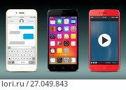 Smart phones with icons, messaging sms app and video player widget. Стоковая иллюстрация, иллюстратор Дмитрий Варава / Фотобанк Лори