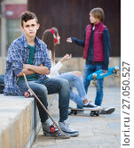 Купить «Jealous teen and his friends after conflict», фото № 27050527, снято 18 января 2019 г. (c) Яков Филимонов / Фотобанк Лори