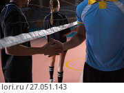 Купить «Male volleyball players shaking hands», фото № 27051143, снято 17 мая 2017 г. (c) Wavebreak Media / Фотобанк Лори