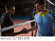 Купить «Volleyball players shaking hands», фото № 27051635, снято 17 мая 2017 г. (c) Wavebreak Media / Фотобанк Лори