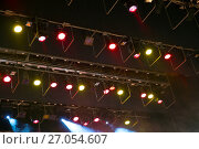 Купить «Stage lights. Soffits. Concert light», фото № 27054607, снято 29 сентября 2017 г. (c) Евгений Ткачёв / Фотобанк Лори