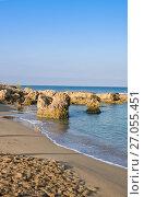 Купить «Municipal sand beach in Paphos, Cyprus», фото № 27055451, снято 20 июля 2017 г. (c) Papoyan Irina / Фотобанк Лори