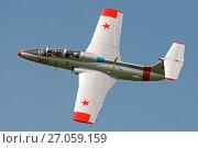 Купить «Самолет Aero L-29 (бортовой RA-1342G) в полете, аэродром Орловка», эксклюзивное фото № 27059159, снято 19 августа 2017 г. (c) Alexei Tavix / Фотобанк Лори
