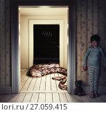 Купить «Snake in the room», фото № 27059415, снято 23 января 2019 г. (c) Виктор Застольский / Фотобанк Лори