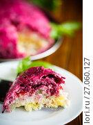 Купить «layered pastry salad with herring and beetroot», фото № 27060127, снято 31 августа 2017 г. (c) Peredniankina / Фотобанк Лори
