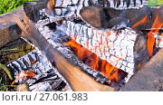 Купить «Closeup of hot burning firewood in campfire. Smoldering timbers», видеоролик № 27061983, снято 8 августа 2017 г. (c) FotograFF / Фотобанк Лори