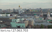 Купить «Panorama of the center of Moscow from the observation deck stock footage video», видеоролик № 27063703, снято 12 июня 2017 г. (c) Юлия Машкова / Фотобанк Лори