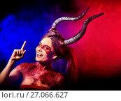 Купить «Mad satan woman aggressive cry in hell . Witch reincarnation creature.», фото № 27066627, снято 23 марта 2017 г. (c) Gennadiy Poznyakov / Фотобанк Лори